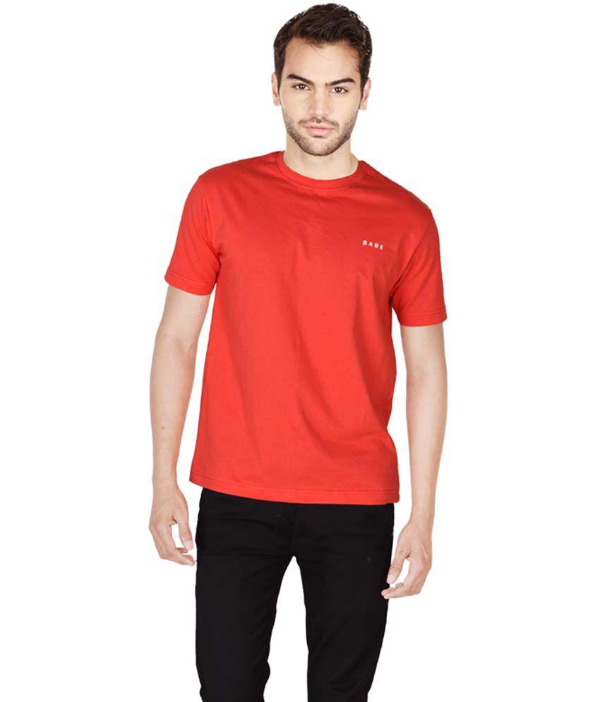 Bare Red Round T Shirts