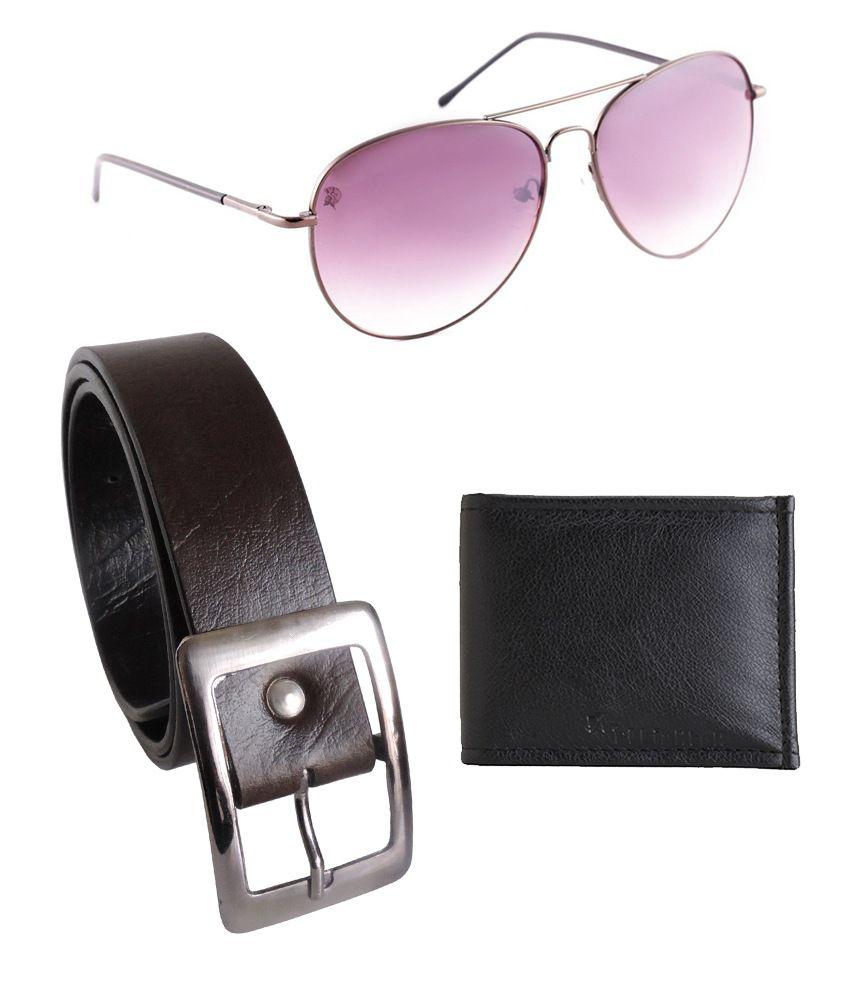 Elligator Black Leather Belt For With Wallet & Sunglasses