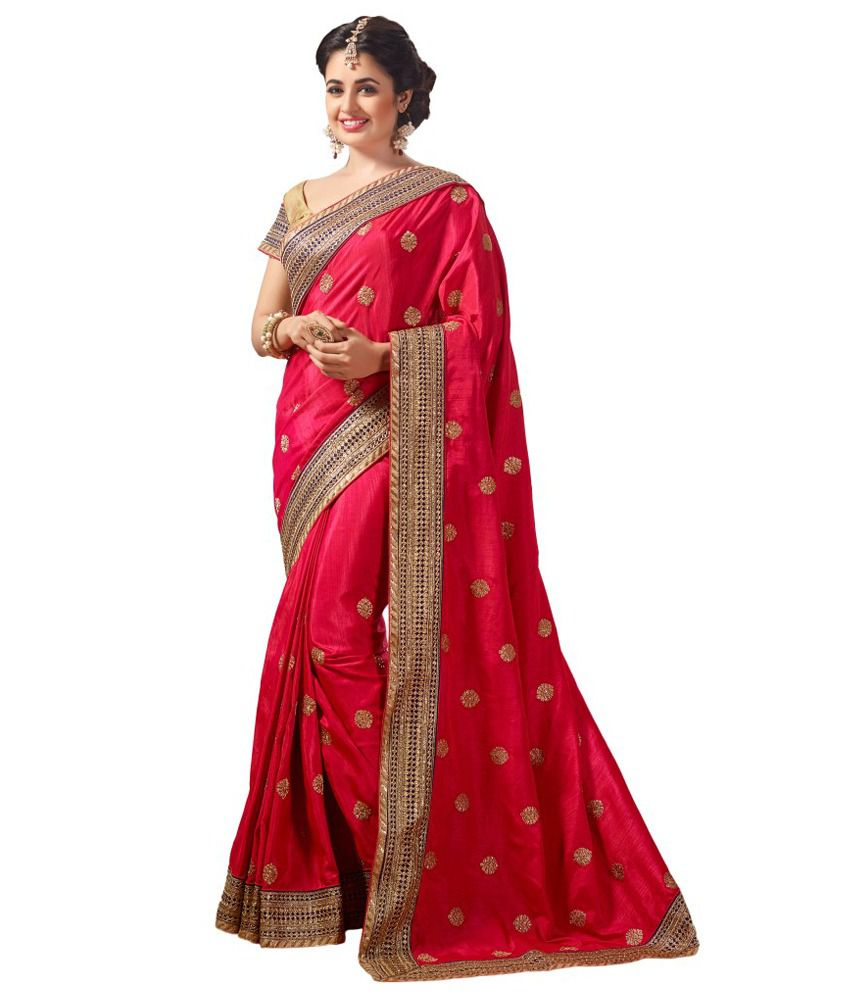 M.S.Retail Pink Dupion Silk Saree