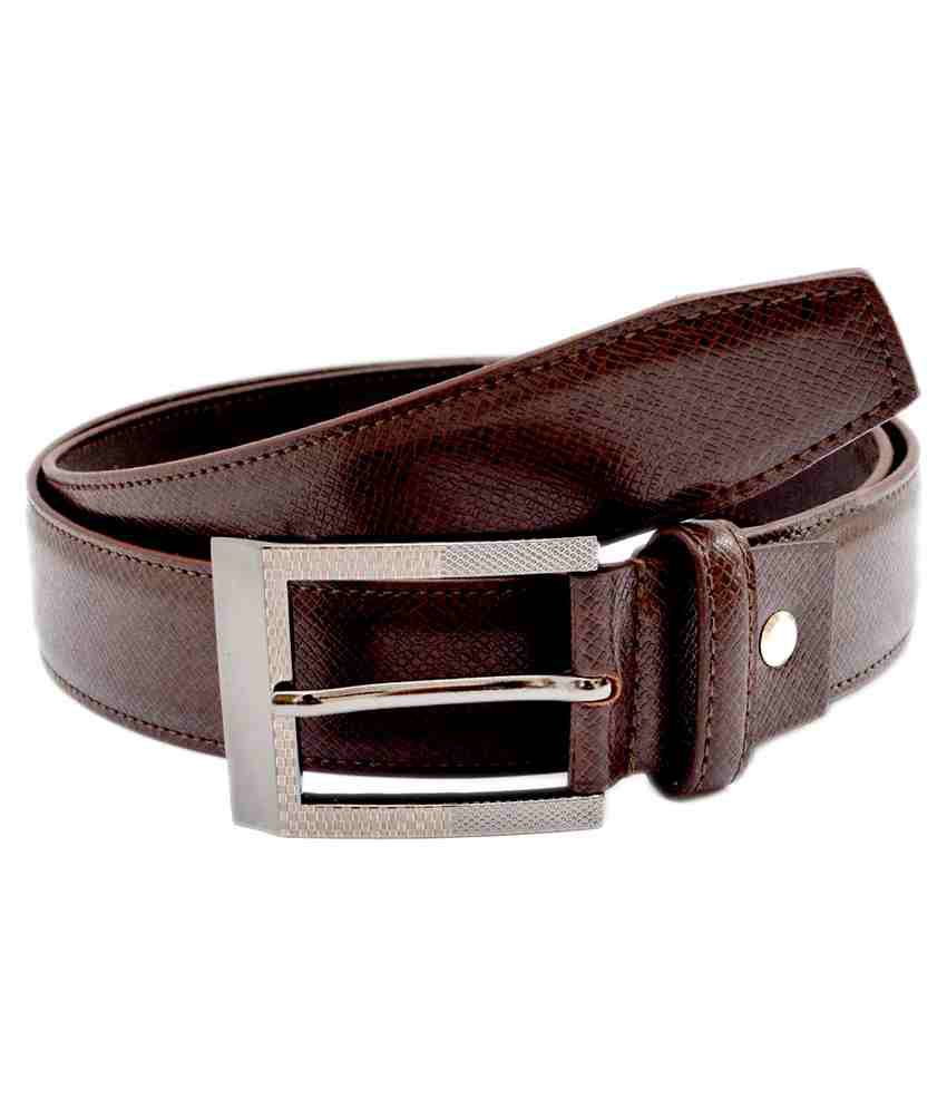 Pacific Gold Brown Non Leather Formal Belt For Men