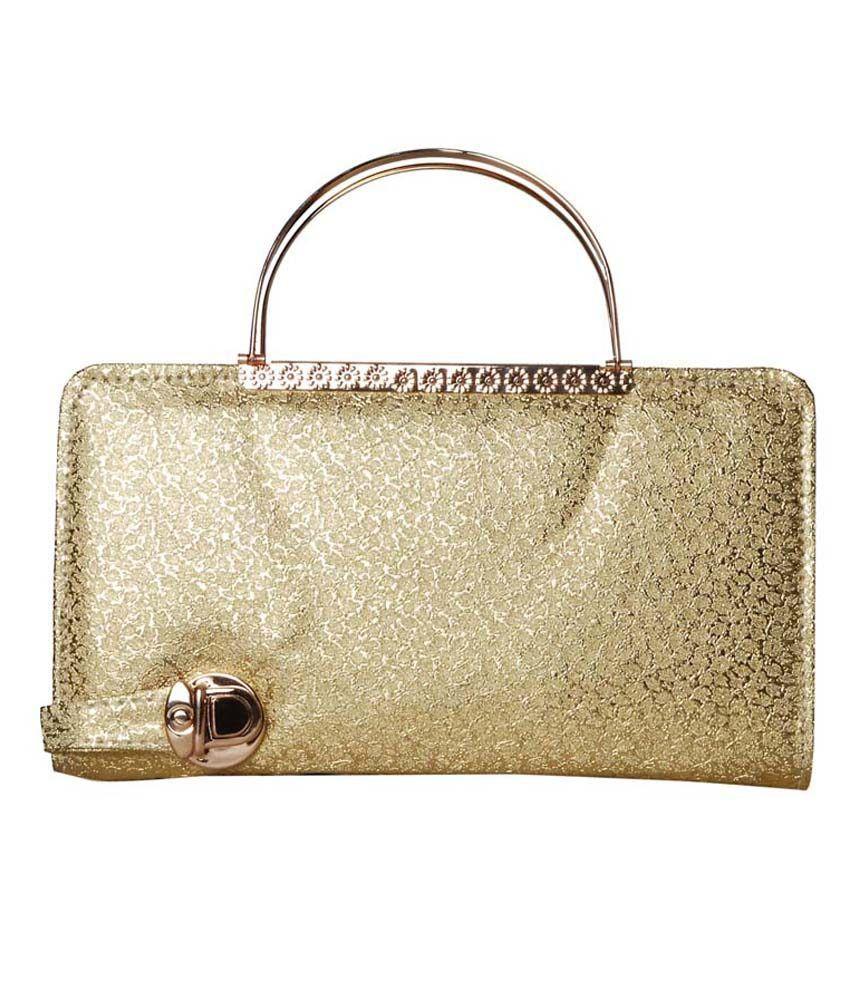 Style Adda Gold Faux Leather Shoulder Bag