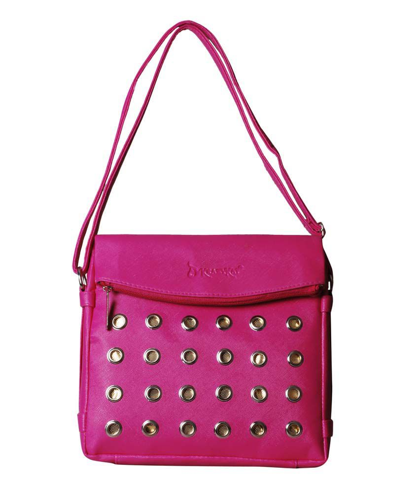 Style Adda Pink Faux Leather Sling Bag