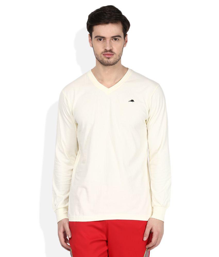 2go Off-White V-Neck Solids T-Shirt