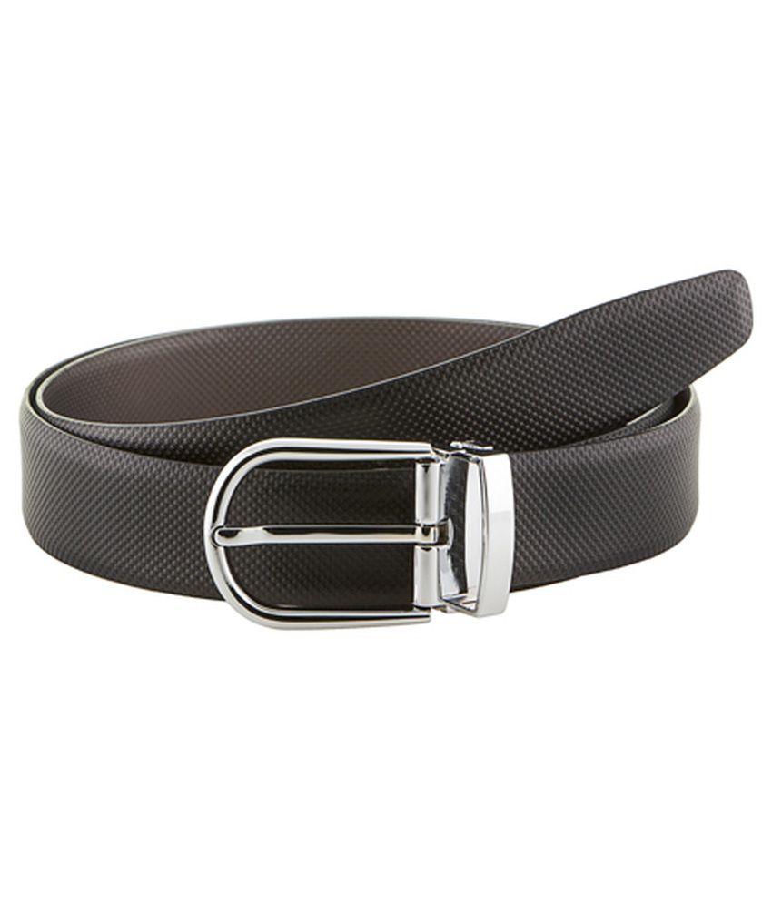 Gildermen Black Leather Reversible Pin Buckle Formal Belt