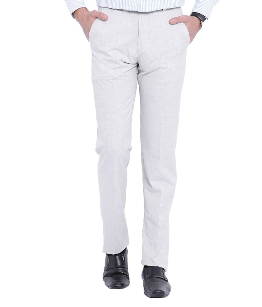 Skie Studio Off-White Slim Fit Flat Trousers
