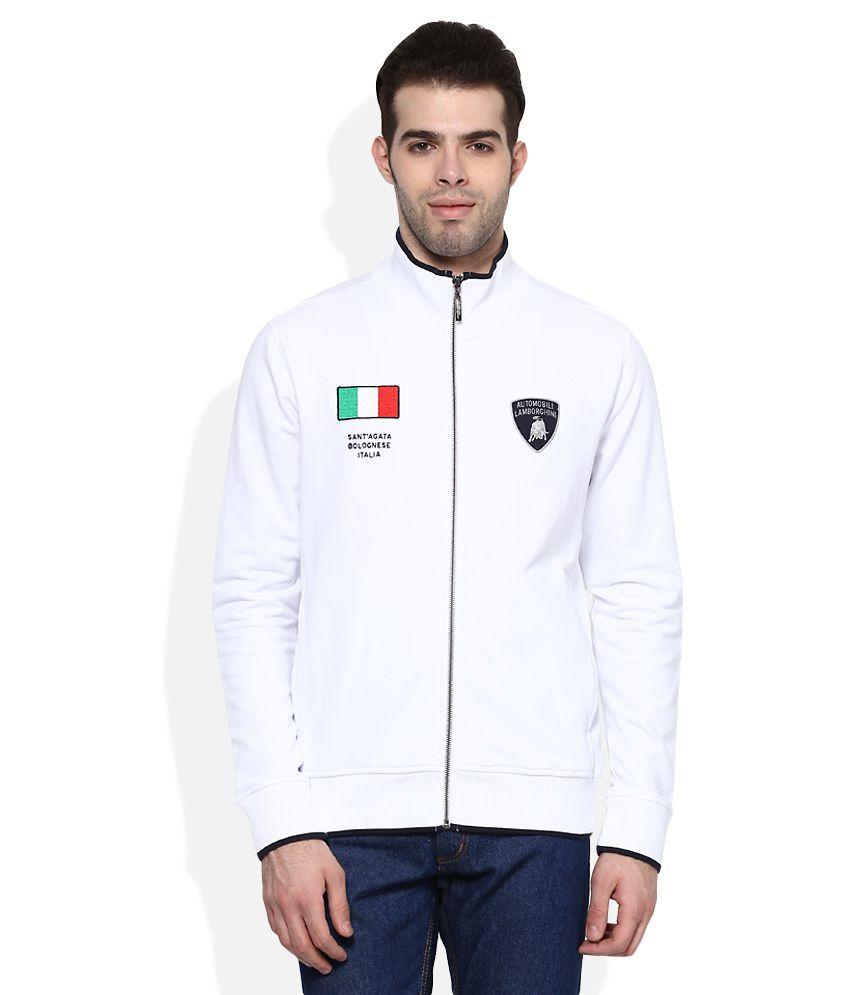 AUTOMOBILI LAMBORGHINI White Zippered Sweatshirt