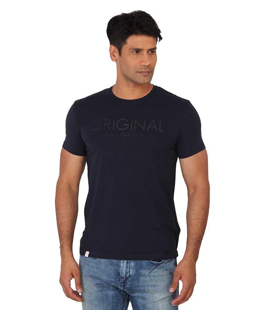 Calvin Klein Blue Round T Shirts