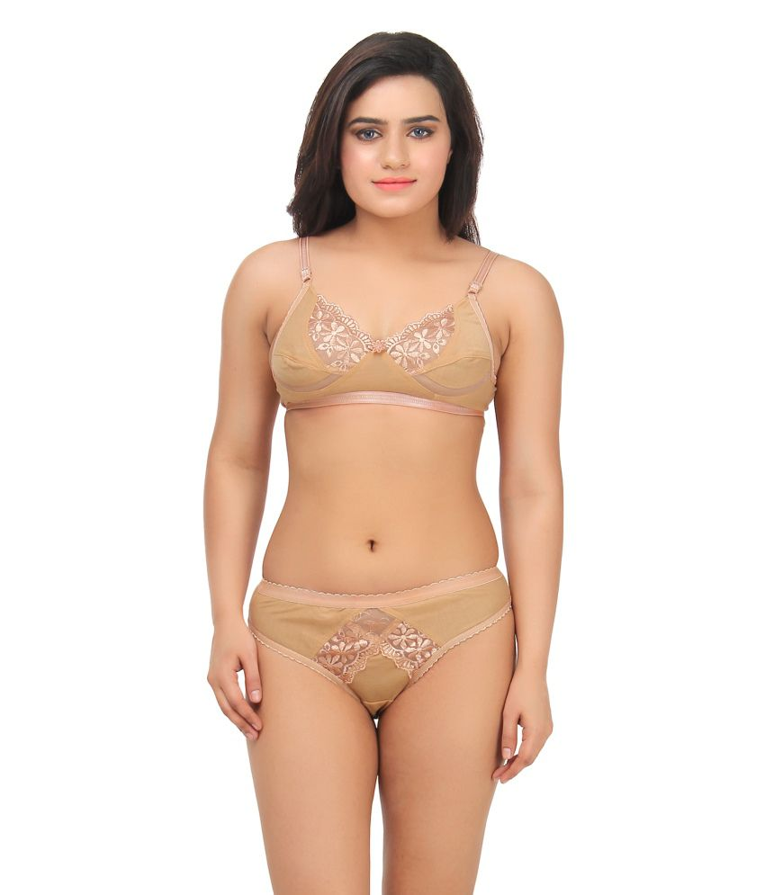 5081e0655373 Buy Gujarish Beige Velvette Bra & Panty Sets Online at Best Prices in India  - Snapdeal