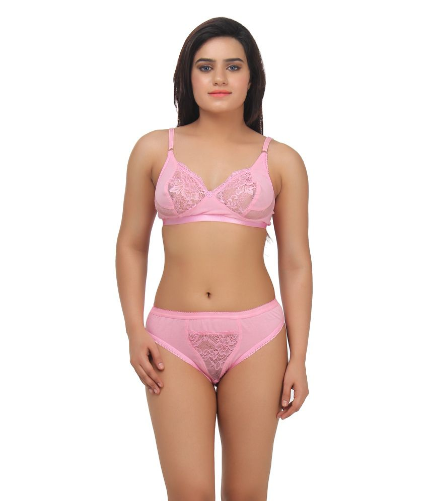 7e2eddbb69fa8 Buy Gujarish Pink Velvette Bra   Panty Sets Online at Best Prices in India  - Snapdeal