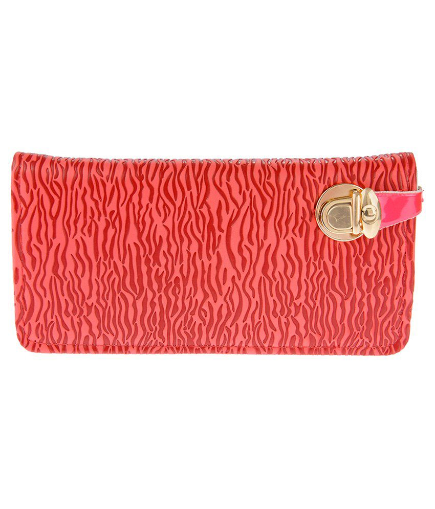 JG Shoppe Red Synthetic Fabric Long Wallet For Women