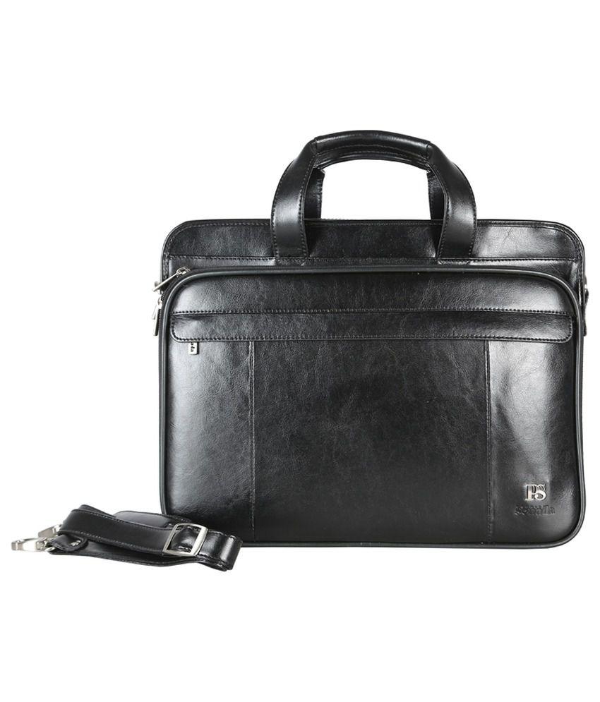 Premium Sonada Black Leather Briefcase