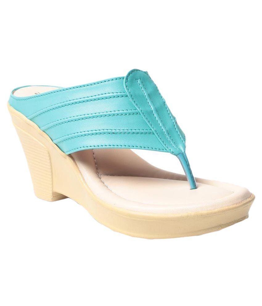 MSC Turquoise Wedges Heels
