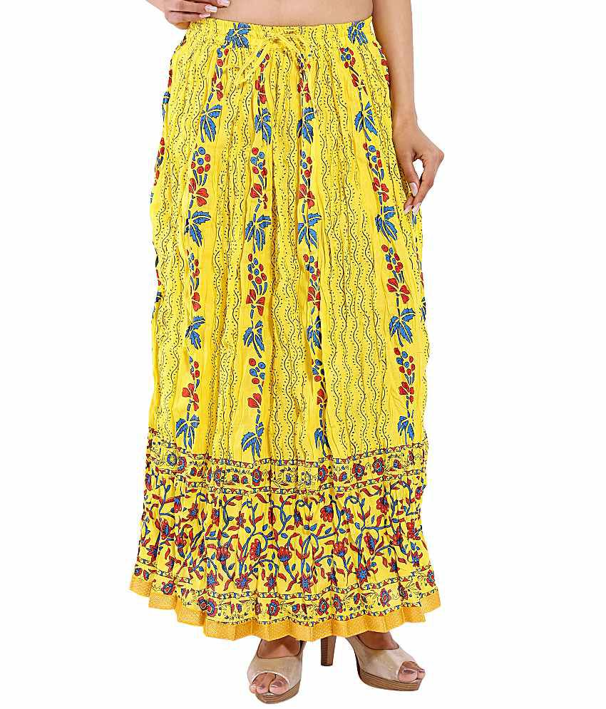 aa69e9ccc Buy Magnus Yellow Cotton Maxi Skirt Online at Best Prices in India -  Snapdeal