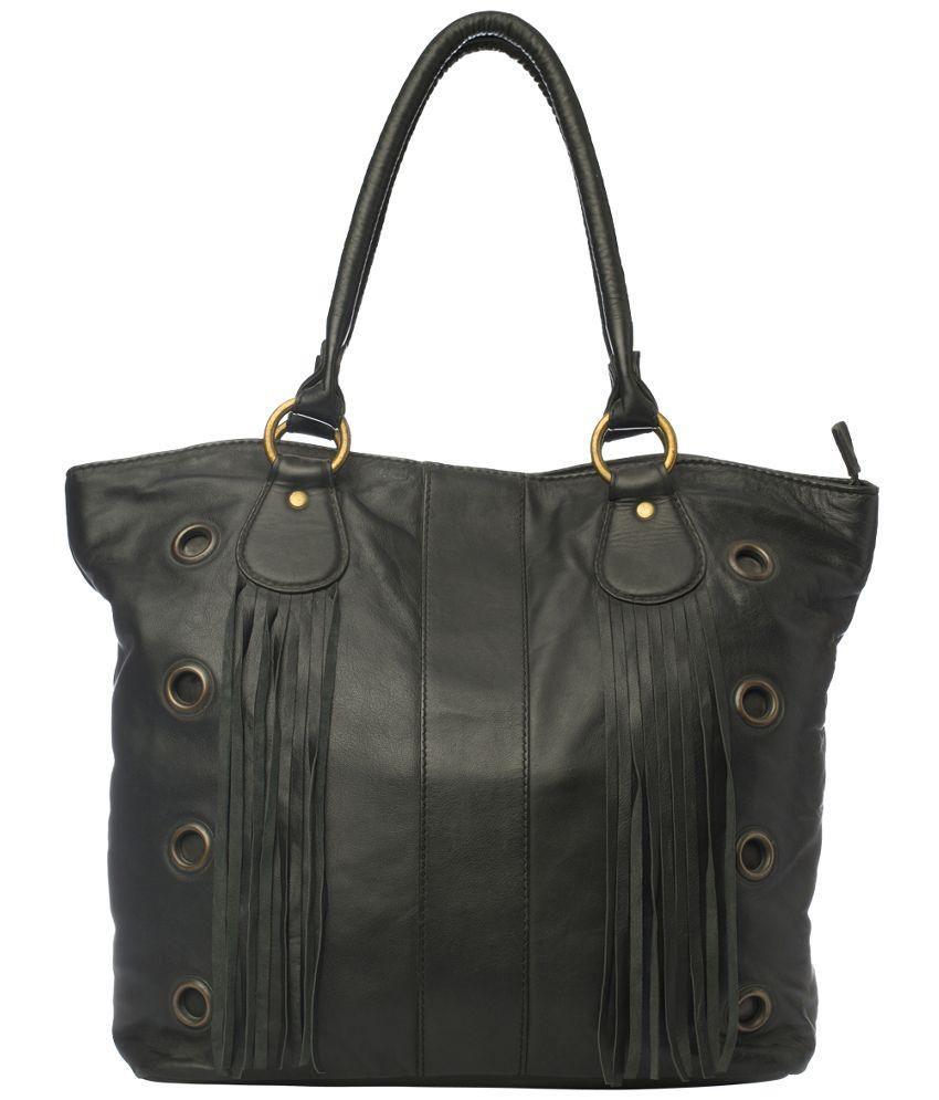 Romari Black Pure Leather Tote Bag