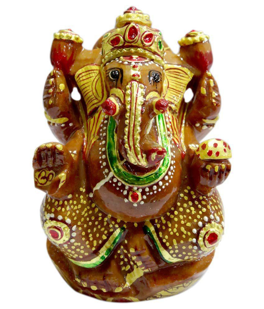 SS Murti Figurine Red Aventurine Stone Painted Ganesh 13 Cm