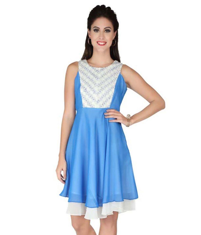 Soie Blue Georgette Dresses
