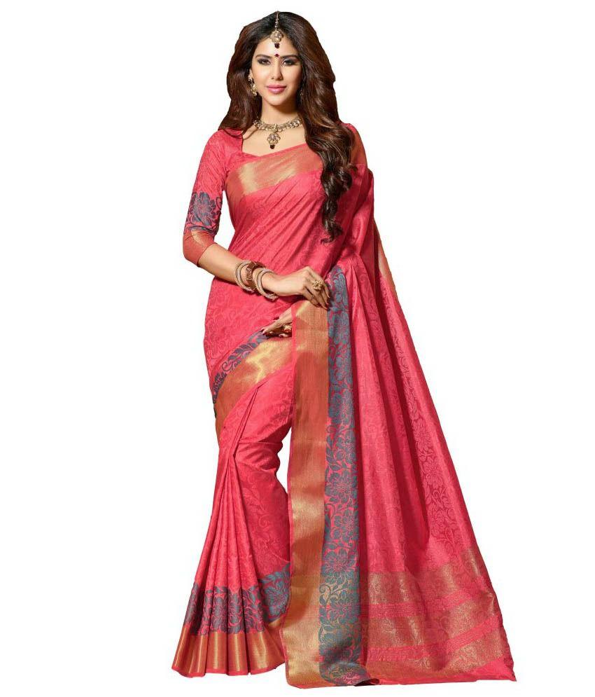 Rajshri Fashions Pink Tussar Silk Saree