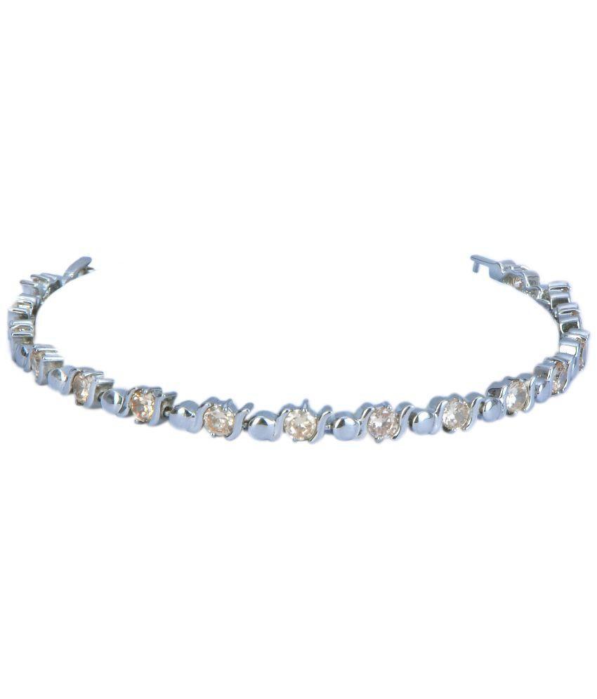 Divine Silver Alloy American Diamond Bracelet