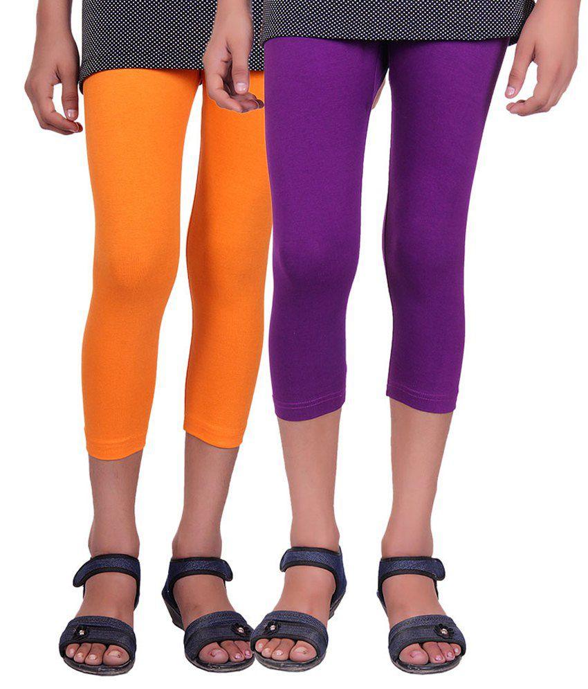 Alisha Multicolour Cotton Lycra Capri for Girls - Pack of 2