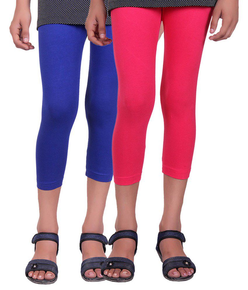 Alisha Multicolour Cotton Lycra Capri for Girls - Pack of 2