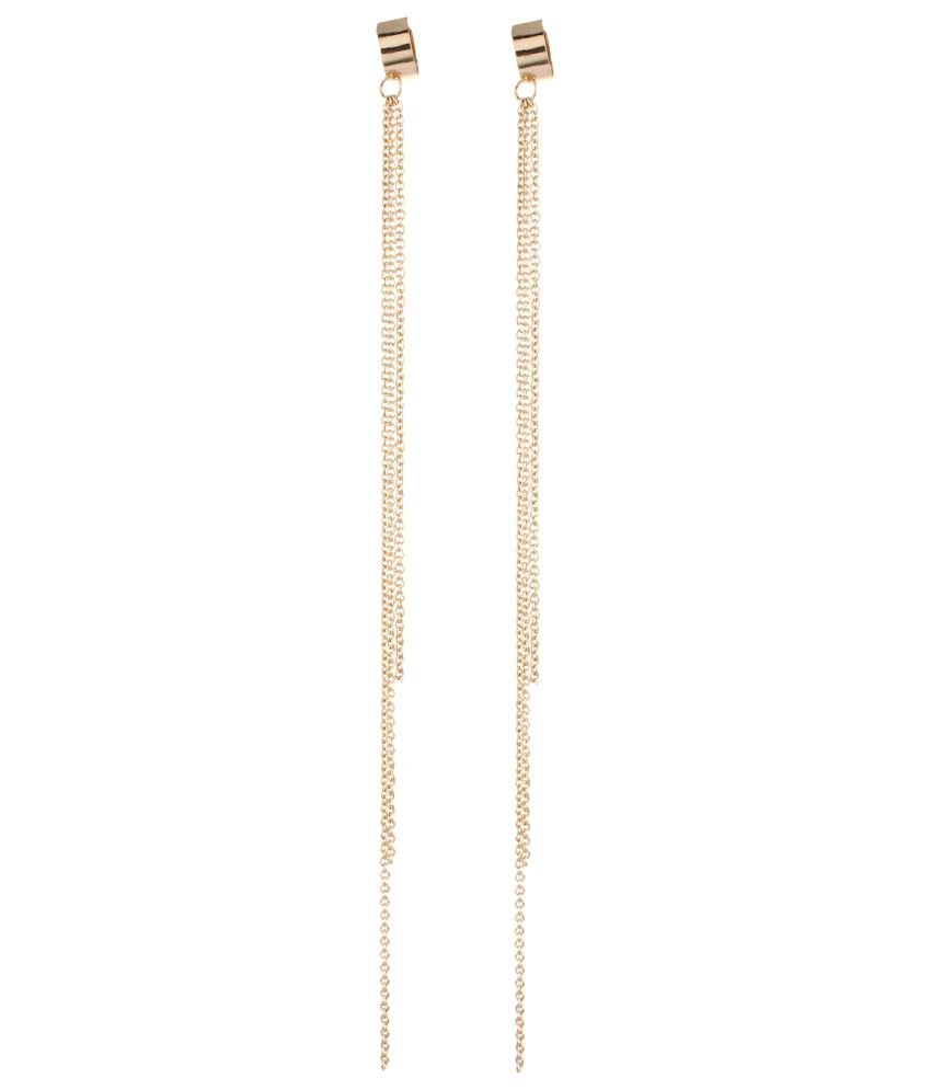 Fayon Designer Modern Golden Long Tassels Ear Cuff For Both Ear