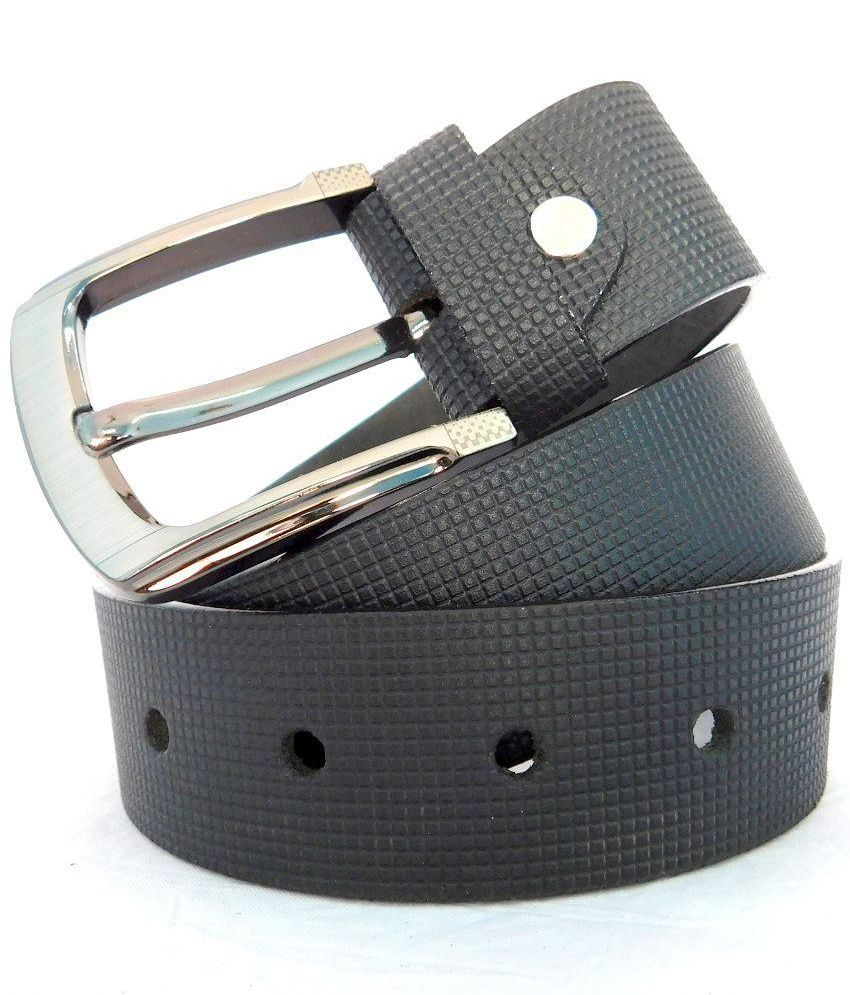Finch Feather Black Leather Belt for Men