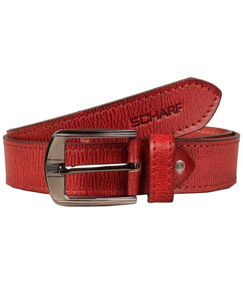 Scharf Red Leather Belt for Men