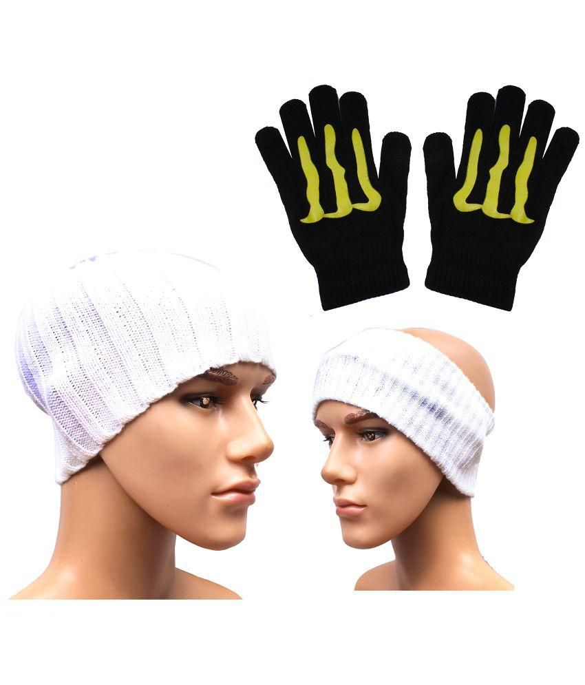 Sushito White Woolen Cap with Headwrap & Hand Gloves
