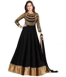 Dhruva Fab Black Georgette Anarkali Gown Semi-Stitched Suit