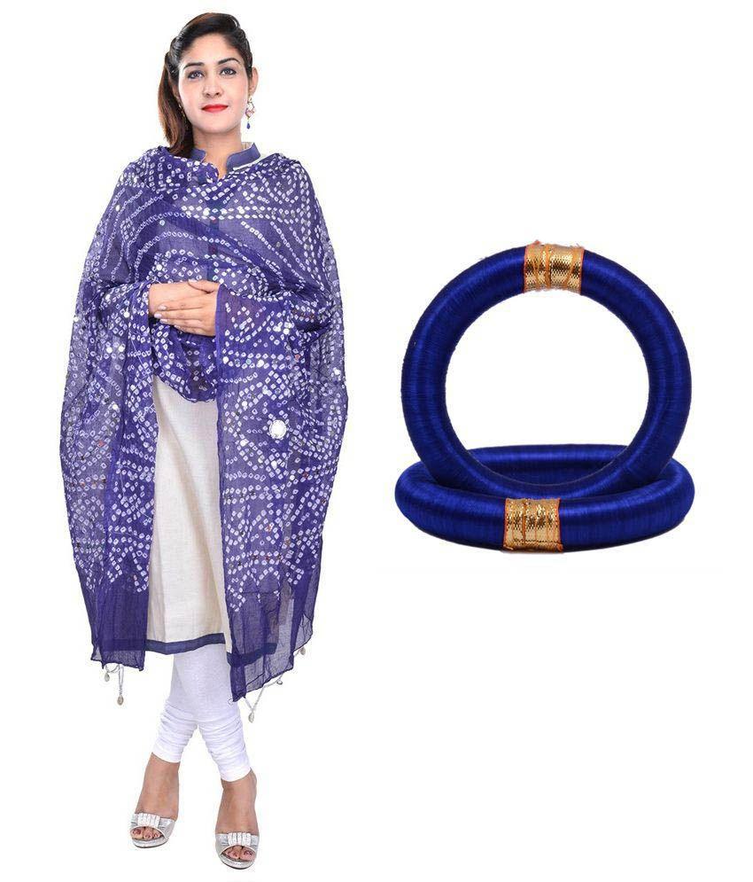 Apratim Blue Cotton Bandhej Dupattas with Pair of Bangles