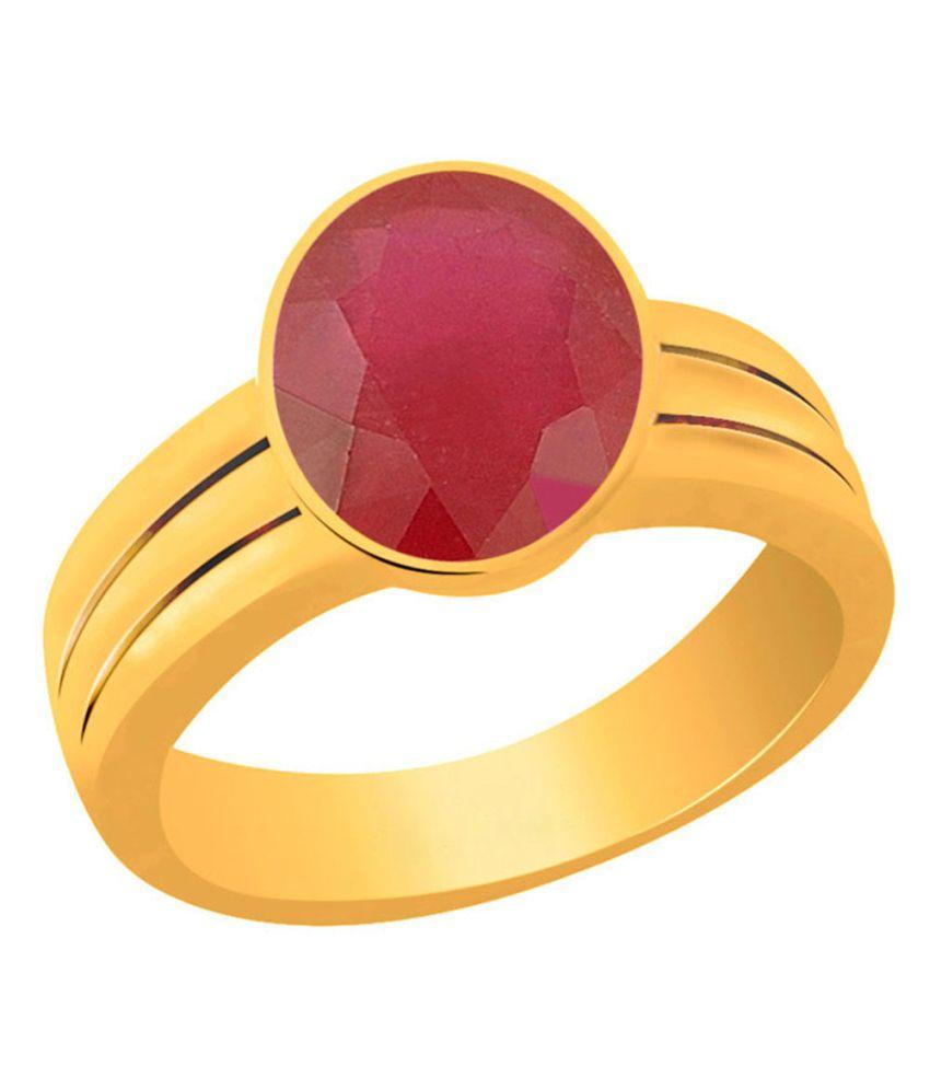 Clara Ruby Manik 7.5 Carat (8.25 Ratti) Panchdhatu Gold Plated Astrological Ring For Men & Women
