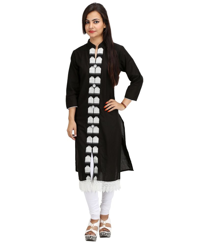 KHUSHI Black Viscose Straight Kurti