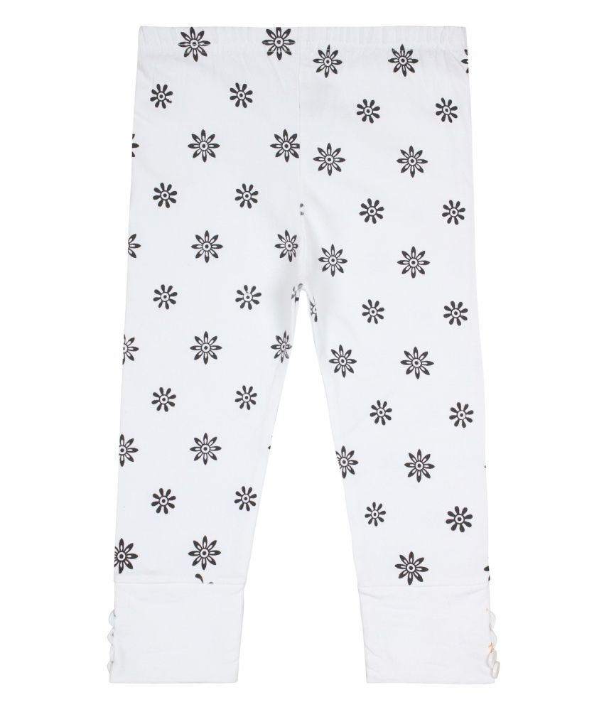 Jazzup White Cotton Blend Capris