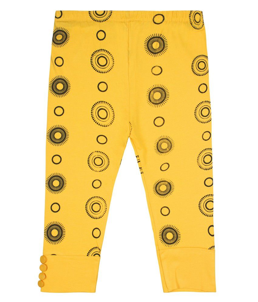 Jazzup Yellow Cotton Blend Capris