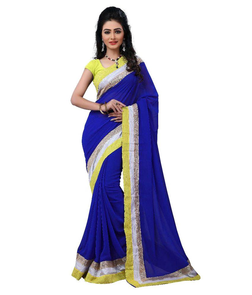 Krishana Creation Blue Chiffon Saree