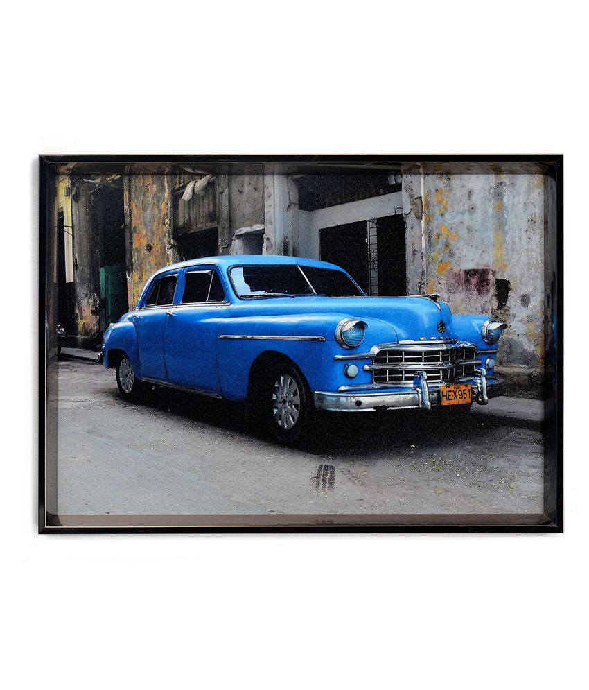 Nilkamal Blue Vintage Car Canvas Painting