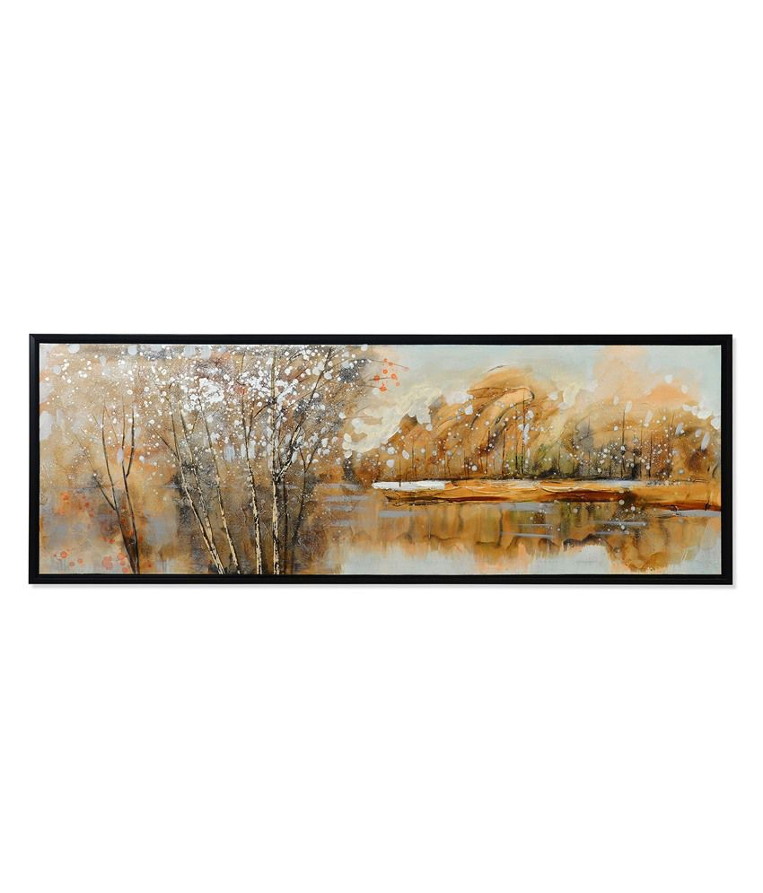 Nilkamal Brown Forest Canvas Painting