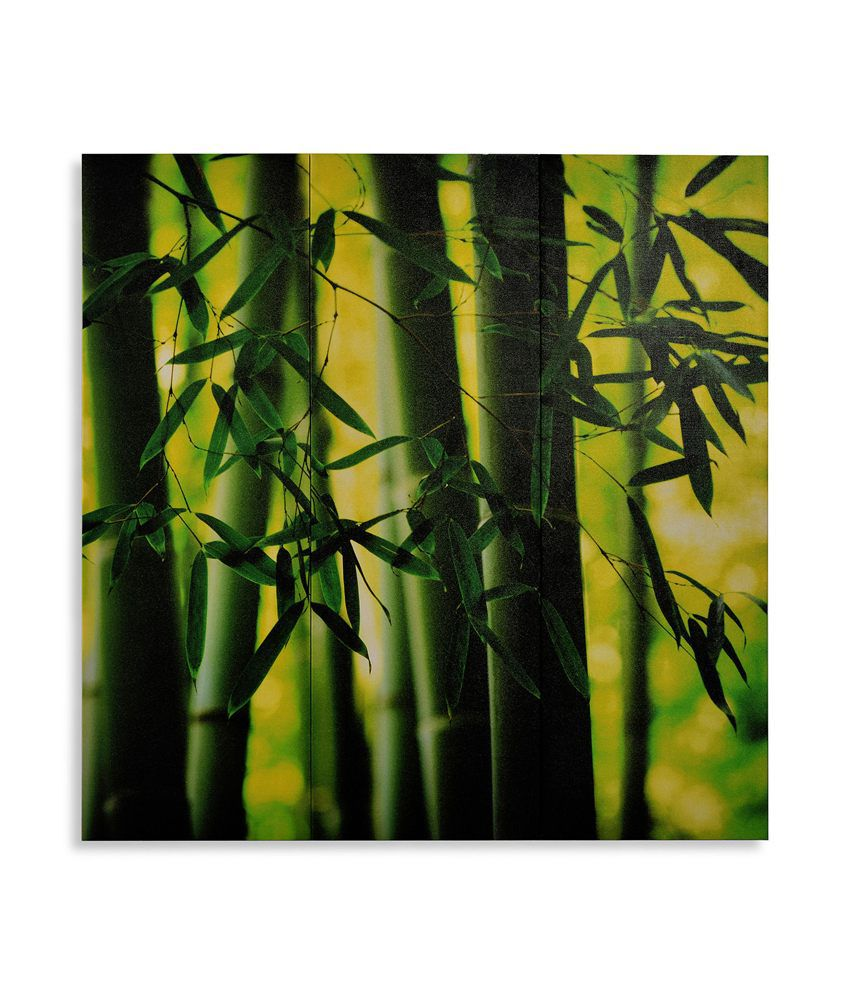 Nilkamal Green Forest Tree Canvas Painting - Set Of 3