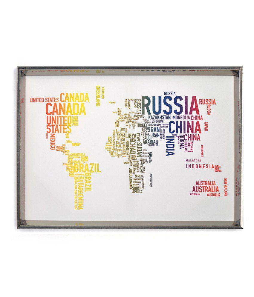 Nilkamal Textured World Map Canvas Painting
