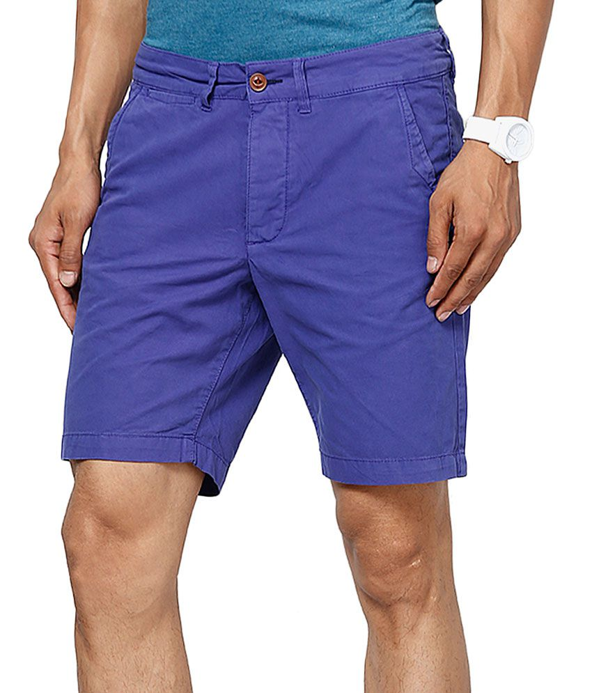 Jack & Jones Blue Solids Shorts
