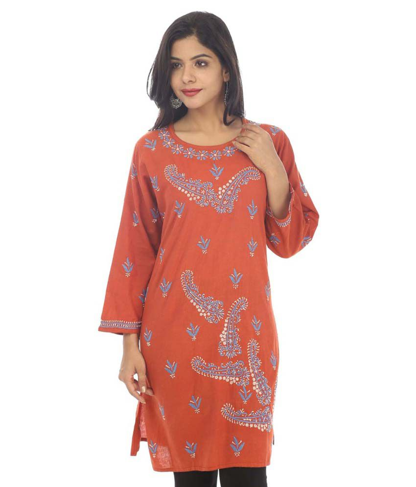 Live With Style Orange Cotton Straight Kurti