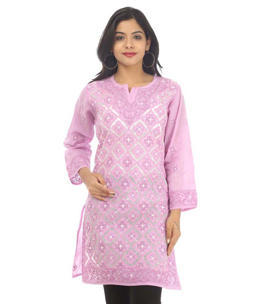 Live With Style Pink Cotton Straight Kurti