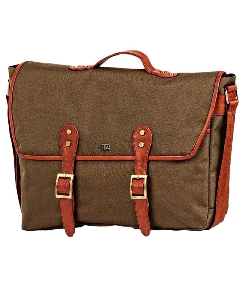 Atorse Olive Canvas Messenger Bag