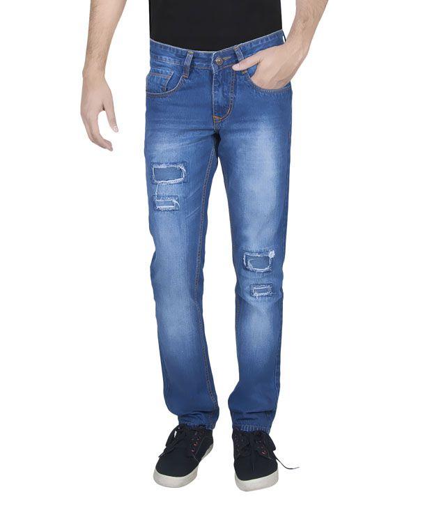 JINJLR Blue Slim Fit Solid Jeans