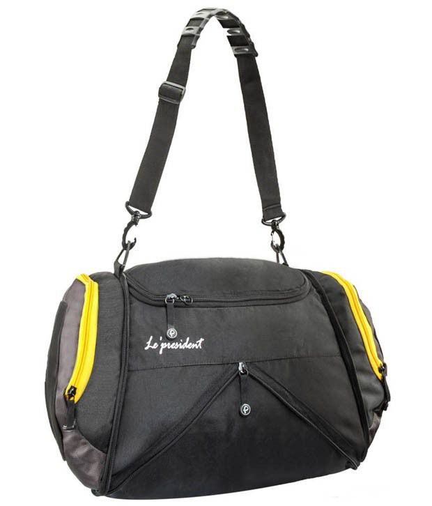 President s Black and Yellow Polyester Gym Bag