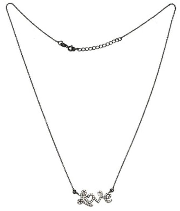 Shine Jewel Lovable 92.5 Sterling Silver White Topaz Gemstone Necklace