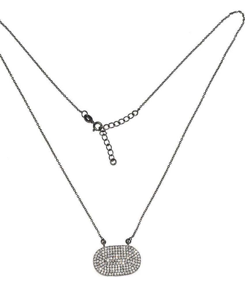 Shine Jewel Oval Round White Topaz Silver Necklace