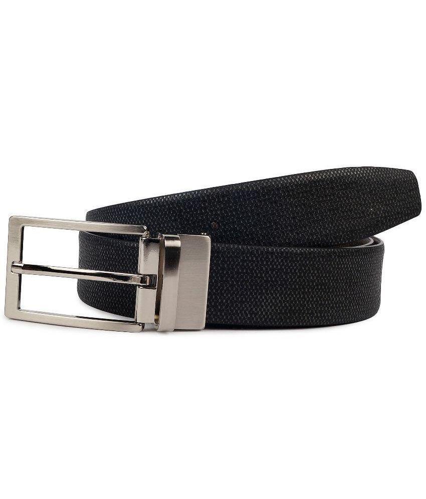 Waist Wire Black Reversible Leather Belt For Men