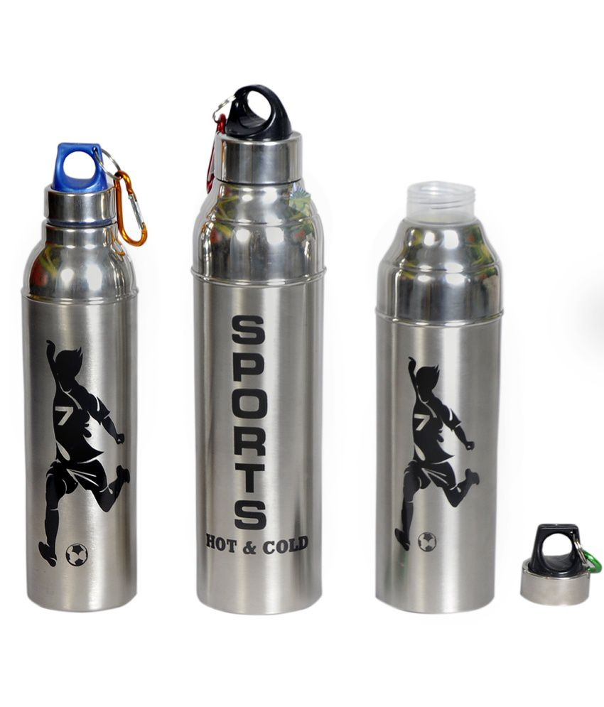 Water Bottle Set: Dynore Silver Stainless Steel Hot And Cold Water Bottle