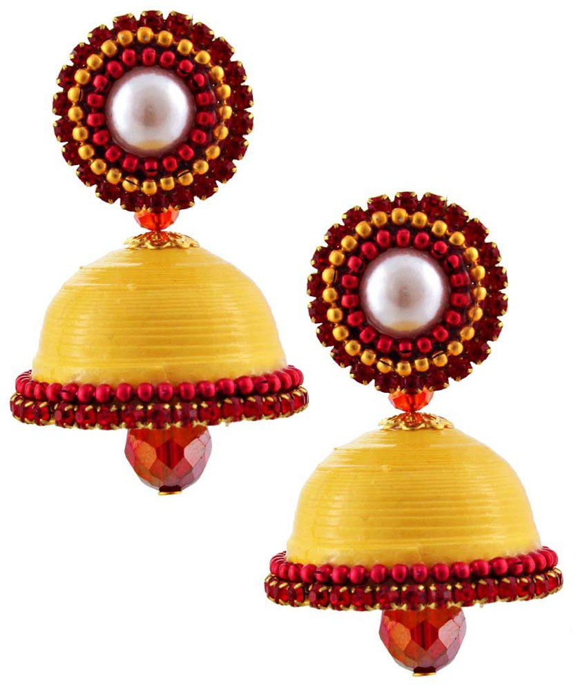 Halowishes Yellow Enamel Jhumkis